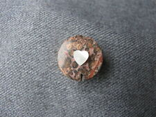 Vintage artisan crafted mop heart real rose marble stone  top button cover  #11