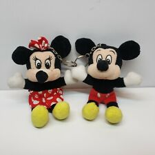 """Mickey Mouse Minnie Mouse Plush Key Chain 5"""" Disney Red Black Yellow"""