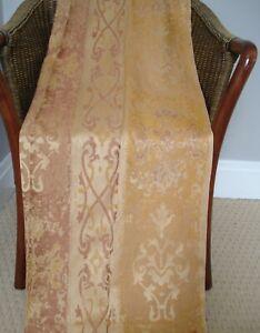 "Gold Copper Metallic Satin Damask Curtains Vintage Curtina UK Fabric 36 x 54"""