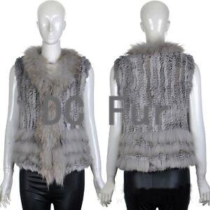 Women Garment Knit Rabbit Fur Vest With Raccoon Fur Collar Gilet Fur Waistcoat