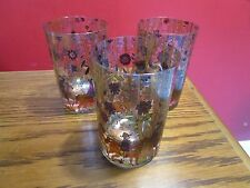 Vintage/antique 3 Tumblers hand-painted English hunting scene [glass GI]