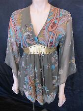 BoHo Flared Angel-Sleeve Gypsy Goddess Empire Top - Size S / 10