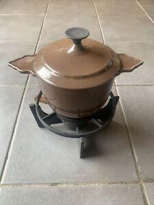 Vintage French Cast Iron Enamel Cousances Fondu Saucepan And Burner
