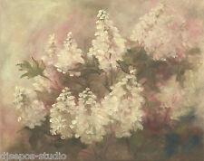 """""""Abundance, Oakleaf Hydrangeas"""" Debra Sepos original oil 8"""" x 10"""" still life"""
