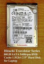 """Fujitsu, Hitachi, Toshiba 80GB SATA 5400rpm 8MB 1.50Gb/s Int 2.5"""" Hard Drive"""