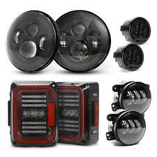 "7"" LED Headlight+Fog Light+Tail Light+Turn Signal Lamp Kits For Jeep Wrangler JK"