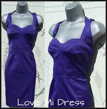 M&S - Strap Back Purple Pencil Wiggle Dress Sz 10 EU38