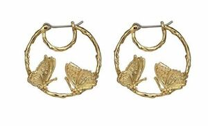 Les Nereides  Blazing Nature Duo Of Butterflies Little Hoops Earrings