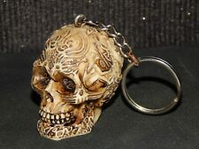 Skull Head Keychain Ring 3D Skeleton Carved Skull Biker Motorcycle Mystic Celtic