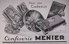 PUBLICITÉ DE PRESSE 1934 CONFISERIE MENIER BOITE CHOCOLAT - ADVERTISING