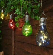 4 COLOURS Solar Powered WHITE LED Hanging Light Bulbs Solar Garden Lights  Clear