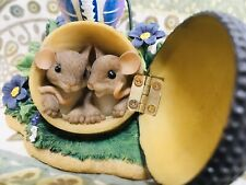 """Charming Tails """"I Feel So Close To You"""" Fitz & Floyd 89/343 Acorn/Mice/Floral"""