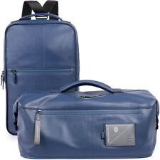 PIQUADRO men's blue leather business laptop backpack with Detachable duffle bag