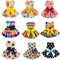 Pet Small Dog Dress Printed Flower Bowknot Puppy Cat Princess Dresses Clothes