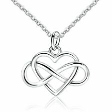 925 Sterling Silver Plated Petite Infinity Heart Charm Necklace Love Gift Idea