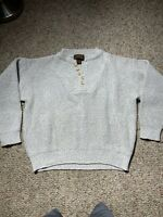 Eddie Bauer 1/4 Button Pullover Sweater Mens Small Thick Knit Cotton Vintage USA