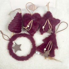 5PC Plush Christmas Tree Hanging Pendant Heart Star Feather Ornament Decor