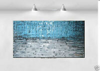 Modern Hand abstract Blue Large Wall Oil Painting On Art Canvas 1PC(no framed)