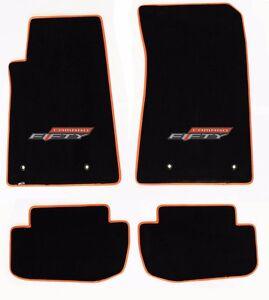 NEW! BLACK FLOOR MATS 2016-2021 Camaro 50TH Fifty Anniversary Logo Orange Trim 4