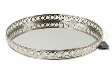 Large Oval Silver Votive Tea Light Candle Holder Tray Mirror Glass Plate