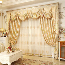 luxury French yellow embroidered yarn dyed cloth blackout curtain tulle N307