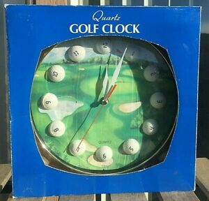"VTG NEW Montgomery Ward Golf Themed 11"" Plastic Quartz Golf Wall Clock AA bats"