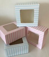 4 x CAKE TREAT BOXES With clear Window Gift Boxes Sugarcraft BABY SHOWER SWEETS