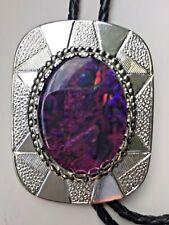Bolo tie purple paua silver surround.