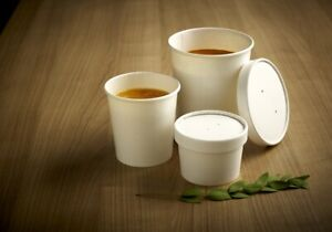 50 x White Paper Soup Containers Cups Heavy Duty in 26oz