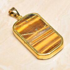 "Handmade Natural Golden Tiger's Eye Gemstone Pendant 2"" #P17292"
