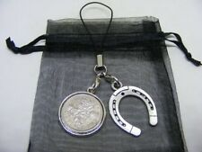 1962 Lucky Sixpence & Horseshoe Phone / Bag Charm - Nice Birthday Gift