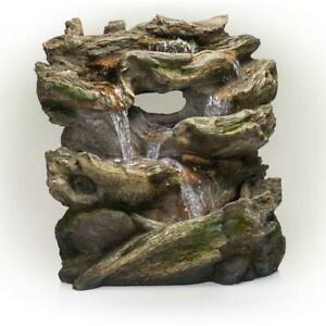 Waterfall Fountain LED Light Rust Resistant Rainforest Polyresin Rustic Brown