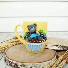 Ceramic Mug Teddybear Fimo Handmade Gift Decorated New Coffee Cup Bear Animal