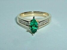 14K YELLOW GOLD CHATHAM CREATED EMERALD & DIAMOND RING
