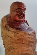 "One-of-a Kind Standing HAPPY BUDDHA Hand-carved raw solid wood 9"" statue"