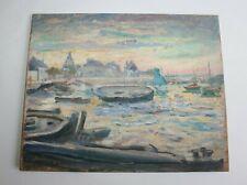 """Tableau, marine, huile sur isorel signé Marcel L'Enfant """" bateaux au Croisic  """""""