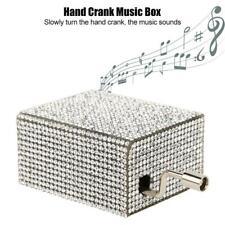 Glänzend Spieldose Handkurbel Spieluhr Musikbox Geschenk Uhrwerk Weiß/Blau Süß