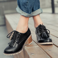 Womens College Lace Up Wing Tip Tassel Pumps Oxfords Brogue Flats Creepers Shoes