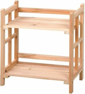 Natural 2 Tier Free Standing Wooden Rack Storage Shelves Display Unit Bookcase