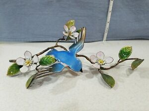 "Bovano Wall Art Blue Bird Floral Branch Enamel Metal Sculpture 9"" EUC"