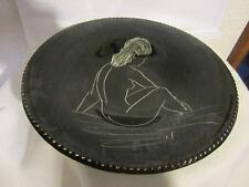 ANCIEN : ASSIETTE CÉRAMIQUE AU DÉCOR DE FEMME NUE - ÉROTISME. MONACO MONACERA