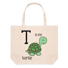 Lettere T è per Tartaruga grande borsa con manico da Spiaggia - Alfabeto