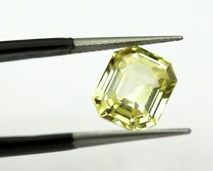 5.11 Ct GII Certified Natural Yellow Sapphire Octagon 10x8 mm Top Grade Loose A+