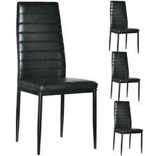 Set of 4 PU Leather Dining Side Chair Modern Elegant Design Home Furniture Black