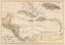 COLONIAL CARIBBEAN. West Indies. Danish Virgin Islands.Telegraph cables 1882 map