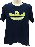 Adidas Men's Short Sleeve Tee Shirt Graphic Navy Blue Size Large 100% Cotton