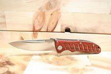 """Best quality! Heavy Duty Enlan Flipper Opening Folding Knife w/Wood 8.26"""" open"""