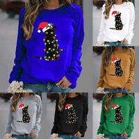 Women Christmas Cat Print Jumper Top Long Sleeve Sweatshirt Pullover Xmas Blouse