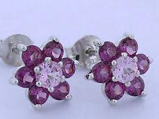 E058 - Genuine 9ct White Gold Natural Pink Sapphire & Rhodolite Stud Earrings