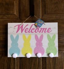 "Easter Bunny Welcome Sign Wall Hanging Decor 13"" X 9"" New"